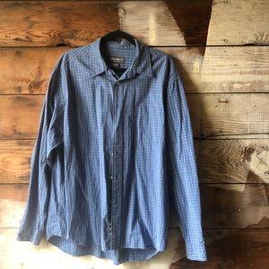 Eddie Bauer Size XL Button Down Shirt Blue Striped